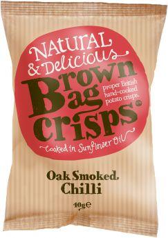 Brown Bag Crisps Oak Smoked Chilli 150g x10