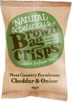 Brown Bag Crisps West Country Farmhouse Cheddar & Onion 40g x20