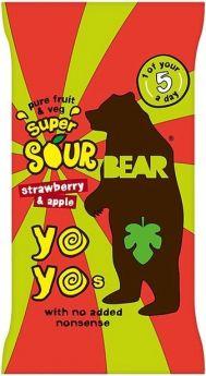 Promo Bear Pure Fruit & Veg Strawberry and Apple Super Sour Yoyos 20g x18