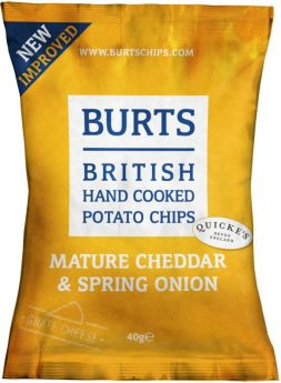 Burts Mature Cheddar and Spring Onion Hand-Cooked British Potato Chips 40g x20