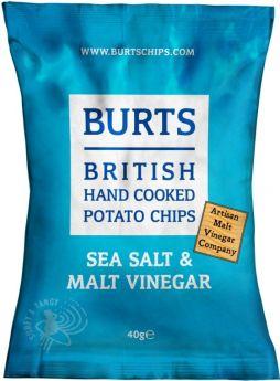 Burts Sea Salt and Malt Vinegar Hand-Cooked British Potato Chips 40g x20