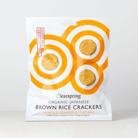 Clearspring Organic Japanese Brown Rice Crackers - Whole Sesame 12 x40g