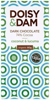 Doisy & Dam Organic Coconut and Lucuma 74% Dark Chocolate 25g x30
