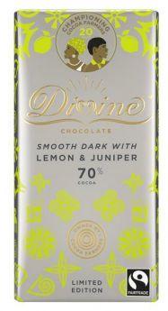 Divine Fairtrade 70% Dark with Lemon and Juniper Smooth  Chocolate 90g x15