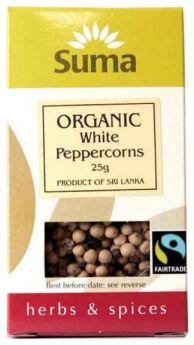 Suma Fair Trade Organic White Peppercorns (6x25g)