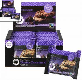 Traidcraft Fair Trade Double Choc Chunk Cookies - Twin Pack 44g x24
