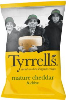 Tyrrells Mature Cheddar and Chive Hand-Cooked English Potato Crisps 40g x24