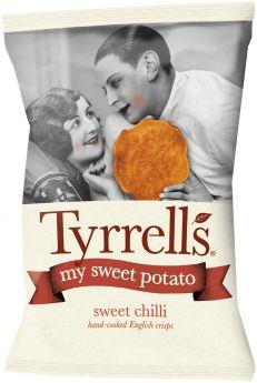 Tyrrells Lightly Sea Salted Hand-Cooked English Sweet Potato Crisps 35g x24