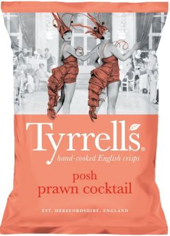 Tyrrells Posh Prawn Cocktail Hand-Cooked English Potato Crisps 40g x24