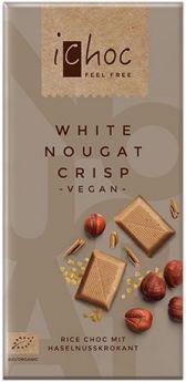 iChoc Organic White Nougat Crisp Rice Chocolate 80g x10