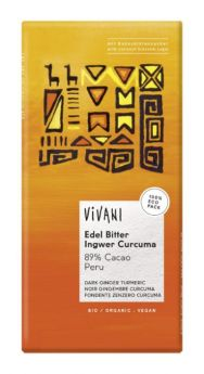 Vivani Superior Dark Ginger Turmeric 89% Cocoa Peru 80g x10
