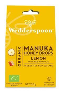 Wedderspoon Natural Manuka Honey Drops Lemon (20 drops per box) 120g x12