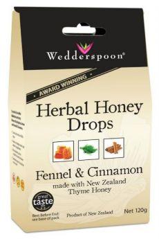 Wedderspoon Natural Herbal Thyme Honey Drops Fennel (20 drops per box) 120g x12